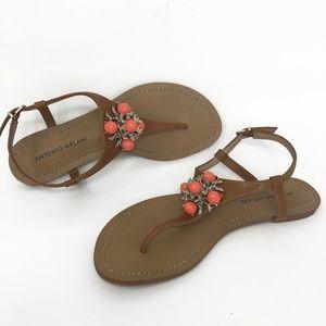 Antonio Melani Blingy Coral Thong Sandals Sz 8 EUC